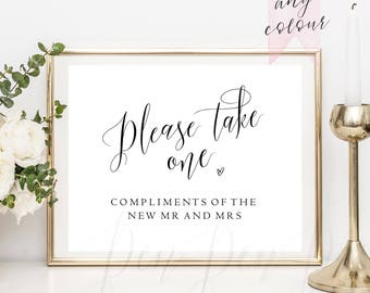 Please take one, wedding favour sign, wedding favor sign, printable, isntant download, Compliments of the new mr and mrs, #PPSB56