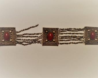 Vintage Silver Bracelet with Carnelian Stones