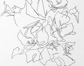 Abstract Botanical Line Drawing