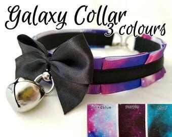 The Galaxy Collar [3 Colour Options] Galaxy Nebula Pleated Kitten/Pet Play Collar