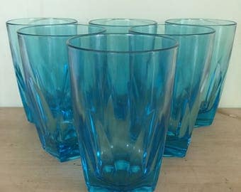 Vintage Turquoise Blue Glass Tumblers Set of Six Retro Drinkware Sixties Chic Iced Tea Glasses Collectable Glassware