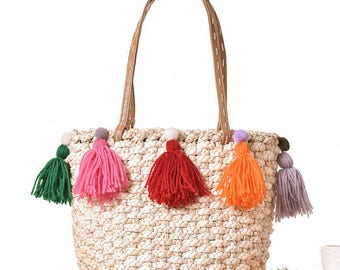straw bag Pom pom , beach bag, straw bag with Tassels, Market tote bag, straw storage basket,Shoulder Bags