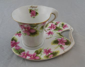 Vintage The Leonardo Collection 'Tennis Set' Cup and Biscuit Tray ~ Month Of April