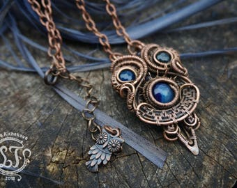wrap pendant, wire wrapped pendant, wire wrapped jewelry, wire pendant, copper jewelry, copper pendant, Unique necklace. pendant owl