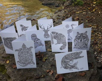 6 PACK Wild Creations animal series cards (with envelopes)