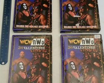 vintage 4 boxes wcw / nwo valentines trading cards 1997 - pro wrestling sting diesel savage goldman luger hart giant hennig wwe wwf awa nwa