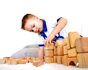 Wooden Building Blocks set (56 pcs), Pine Wood, Natural Wood, Wooden Castle, Building Block, Wooden Figures