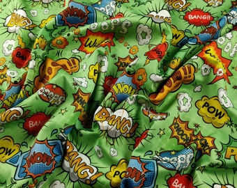 FS161_3 Exclusive Red Comic Boom Bang Pow Knock What Oops Wow Print High Quality Jersey Scuba Stretch Fabric - Sold Per Metre