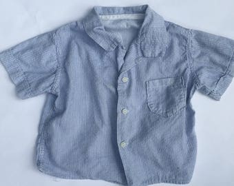 SALE Vintage 50s Blue Pinstripe Shirt/Boys Shirt Size 3T/Button Up Shirt