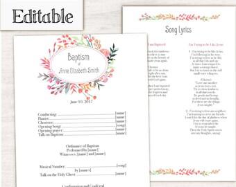 Baptism Program, Editable PDF, Printable Digital Handout Girl Baptism, flowers watercolor, Girl Baptism, Program Template