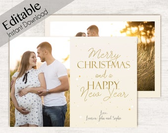 Christmas card template, Editable PDF, Christmas Card Editable, Editable Christmas Card, Holiday Card Template, gold