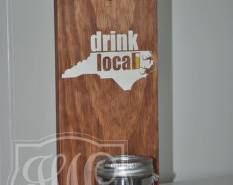 Bottle Opener, Cast Iron Bottle Opener, Wall Mounted Bottle Opener, Bottle Opener with Mason Jar, NC Bottle Opener, The Best Beer Openner