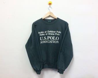 Rare!!! U.S Polo Association Sweatshirt Crewneck Spellout Dark Green