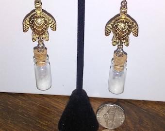 Earrings - gold turtles with glass bottles dangle earrings