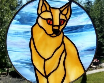 Stained Glass Sun catcher, Creamy Yellow Cat.  Handmade, copper foil with black patina