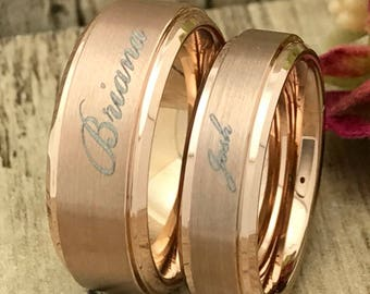 8mm/6mm His and Hers Tungsten Ring, Rose Gold Plated Tungsten Ring, Wedding Ring, Couples Ring, Brushed Finish, Comfort Fit
