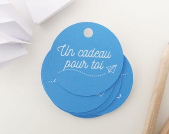 Set of 35 illustrated air paper round gift tags