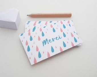 Set of 18 illustrated raindrops thank you cards