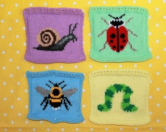 Knitting Pattern PDF Download - Garden Bugs Intarsia Squares for Blanket, Bunting Wall Hanging, Wall Art