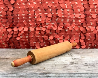Vintage rolling pin antique rolling pin dough roller with red handles country kitchen farmhouse kitchen decor rustic