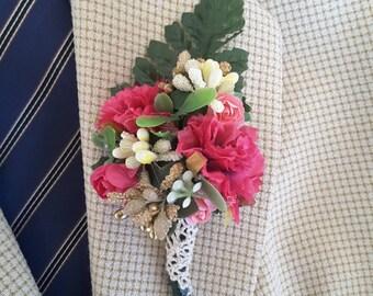Fuchsia boutonniere,  Fuchsia wedding, Fuchsia,  gold and ivory boutonniere