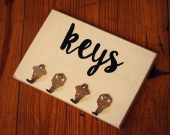 Rustic Key Holder, Farmhouse, Handmade, Hand Painted, Black & White, Key Hooks