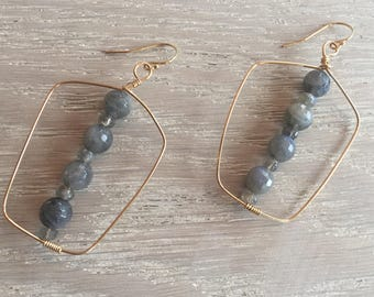 Labradorite Gemstone Earrings, Rectangular Shaped, Geometric, Rustic Elegance, Boho Chic, Beaded Earrings