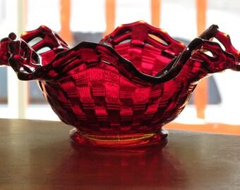 Fenton Art Glass Amberina Two Row Open Edge Basketweave Ruffled Hat
