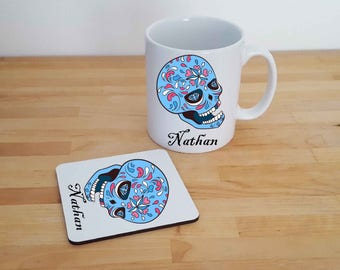 Sugar Skull, Mug and Coaster Gift Set. Various designs. Day of the Dead, Skulls, Skull Mugs. Can Be Personalised