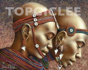Masai Meisjes - Meester Print van Acrylicverfwerkstuk - Master Print created from the Acrylic Painting Artwork, Masaai Girls, Out of Africa