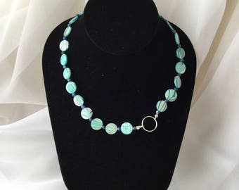 Blue MOP Necklace with Semi Precious Beads and Sterling Silver Charm