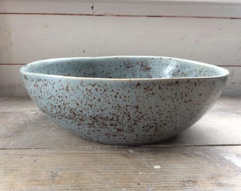 Handmade ceramic large bowl, light blue / grey withbrown speckles. Perfect for fruit, punch bowl or table centerpiece. Modern rustic pottery