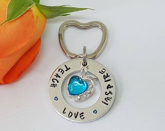 Teacher Gift, Hand Stamped, Personalised Keyring Keychain, Teaching Assistant Gift, Teach Love Inspire, End of Year Gift