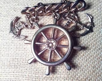 Nautical Ship's Wheel and Anchors Fun Brooch Pin
