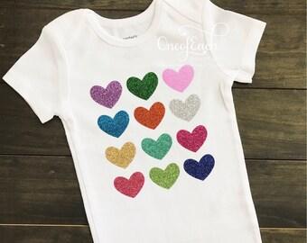 Rainbow Glitter Heart Bodysuit/Tee/Tank