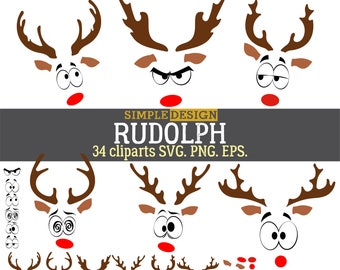 Rudolph Christmas Reindeer SVG, Reindeer Face SVG,  Christmas Deer SVG, Rudolph svg, Rudolph deer svg,