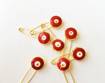 PROMO 5 pcs  - Evil eye pin, blue evil eye stroller pin, safety pins, evil eye stroller charm, baby boy pin, baby girl pin, baby safety pin