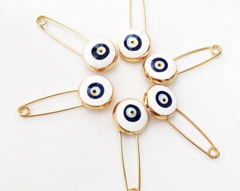 PROMO 5 pcs evil eye safety pin, white lucky evil eye pin, protection for baby, gold plated evil eye pins, baby gift pin, evil eye stroller