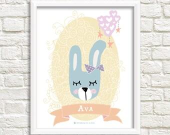 New Baby Print, Woodland Nursery Art, PERSONALISED Baby Gift, Bunny Print, Whimsical Art, Baby Name Print, Nursery Animals, Nursery Decor