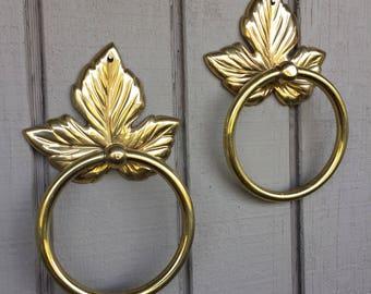 """Vintage Pair of Solid Brass Leaf Towel Rings Door Knocker Style 7"""""""