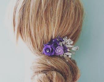 Purple Rose Lavender Lace Pearl Crystal & Diamante Hair Comb Slide Vine