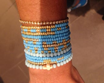 Turquoise and gold seed Bead Bracelet