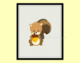 Woodland Nursery Decor, Woodland Animals Printable Wall Art, Squirrel Wall Art Decor, Baby Wall Art Decor, Instant Download