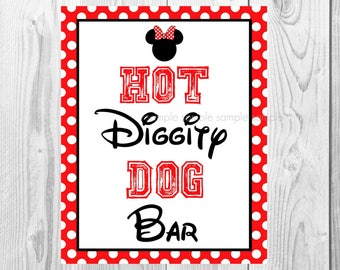 """Hot Diggity Dog Sign, Minnie Mouse Birthday Party Sign, 8""""x10"""" Printable, Instant Download"""