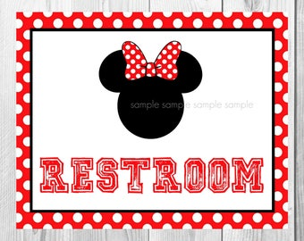 "Restroom Sign, Minnie Mouse Birthday Party Sign, 8""x10"" Printable, Instant Download"