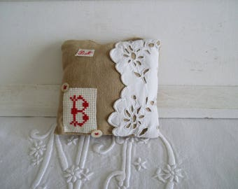 Door cushion - decorative pillow personalized with initial B - cushion fabric cross stitch and embroidery Monogram