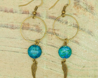 Kit earrings ' ears beads bronze Chrysocolla
