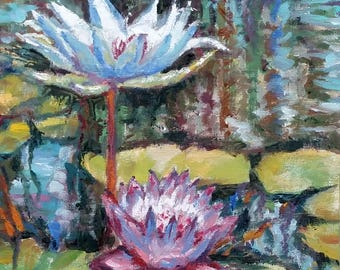 "Original Oil Painting, Lily Pond, 12""x9"", 1707195"