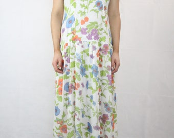 VINTAGE Floral 80s Drop Waist Dress Size S (10-12)