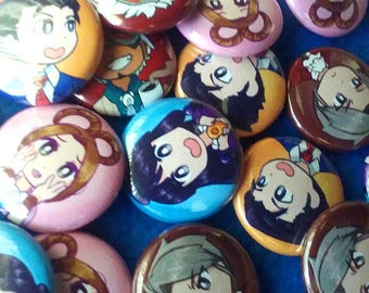 Chibi Turnabout!! Ace Attorney Buttons